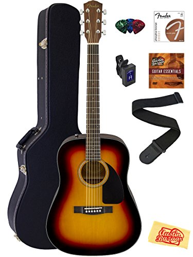 Fender CD-60 Dreadnought Acoustic Guitar Bundle with Hard Ca