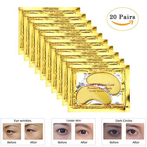 [EZGO 20 Pairs Crystal Gel Collagen Gold Power Eye Mask, Great For Anti Aging, Dark Circles, Puffiness And So] (Pirate Makeup Female)