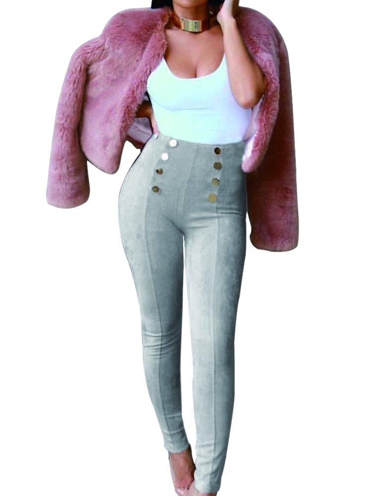 MS Mouse Girl's Fashion Bodycon Pencil Leggings Faux Suede Leather Pants L