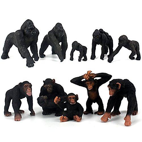 FUNSHOWCASE African Jungle Animals Toy Chimpanzees and Gorilla Figure Realistic Plastic Figurine Playset Lot -