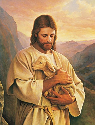 Jesus carrying a lost lamb CHRISTIAN ART GLOSSY PHOTO (Lost Lamb)