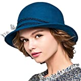 Maitose™ Women's Wool Felt Bowler Hat Blue