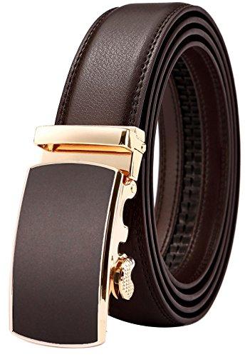 Belt for Men,Bulliant Men's Click Ratchet Belt Of Genuine Leather,Trim to Fit (Wide Covered Buckle Belt)