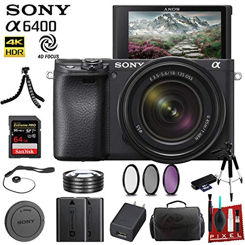 Sony Alpha a6400 Mirrorless Camera with 18-135mm Lens (ILCE-6400M/B) with Bag, Lens Filters, Diopters, Tripod, Extra Battery, 64GB Memory Card, Memory Card Reader and More.