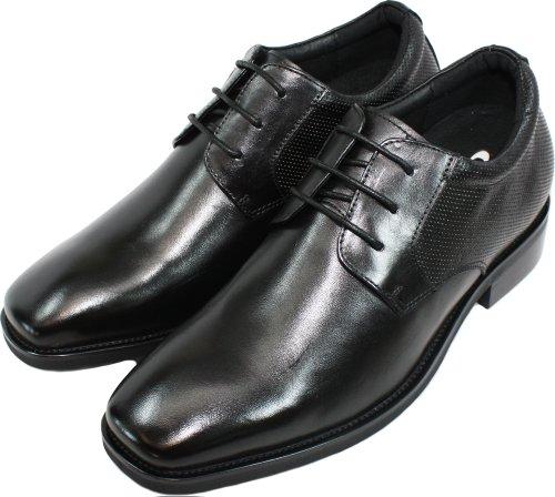 calto–g58212–7,6cm Grande Taille–Hauteur Augmenter Chaussures ascenseur (en cuir noir à lacets)
