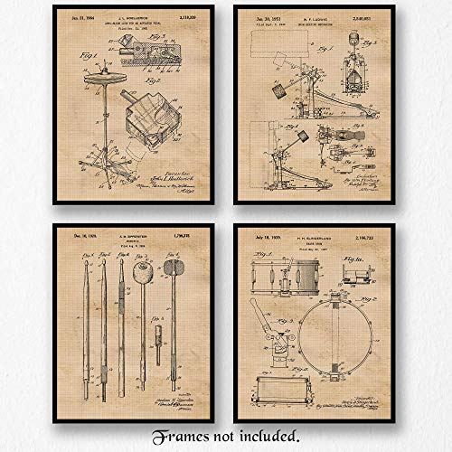 Original Drums Patent Art Poster Prints- Set of 4 (Four Photos) 8x10 Unframed - Great Wall Art Decor Gift for Home, Office, Garage, Man Cave, Student, Teacher, Drummer, Musician, Band, ()