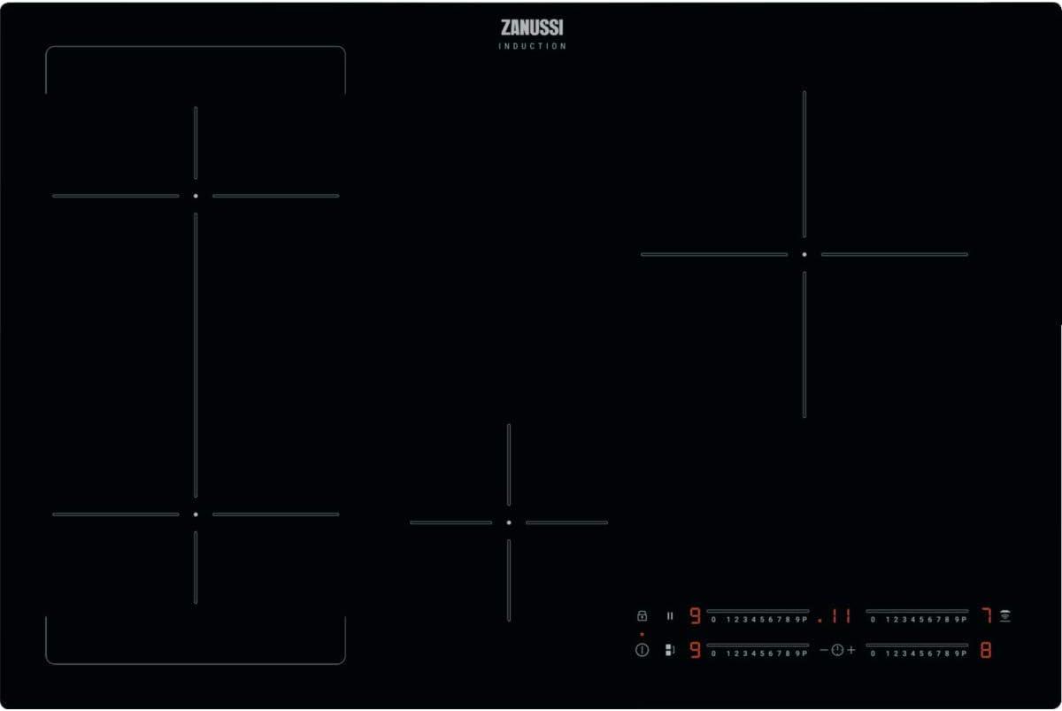 Zanussi ZIFN844K - Placa con 4 inducciones, 80 cm (Power, función Puente, Slider Independiente, Hob2Hood, Zona 24 cm, 3.6 KW, Temporizador, F. Pausa, sin Marco, Easy-Fix, extraplana)