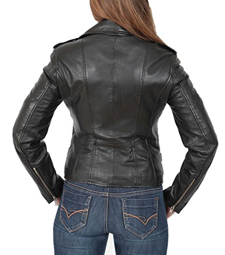 Estilo Biker Negro del Cruzar Cara Ajustada Chaqueta Real Motocicleta Mujer Cremallera Cuero nxHCwwE