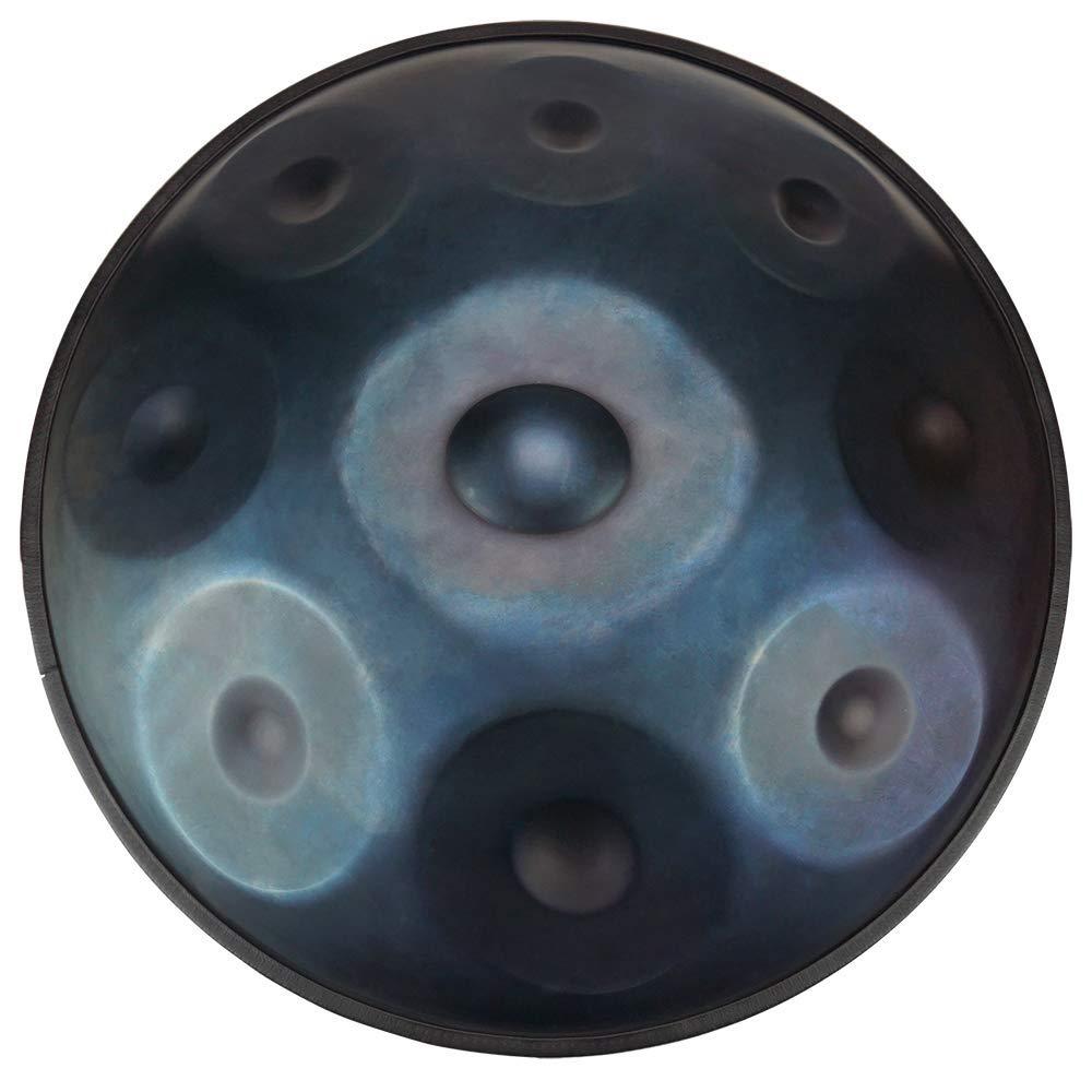 LLC-POWER Hand pan in D Minor 9 Notes Steel Hand Drum + Soft Hand Pan Bag (22.8'' (58cm), Deep Blue (D Minor) 9 Notes D3 A Bb C D E F G A)