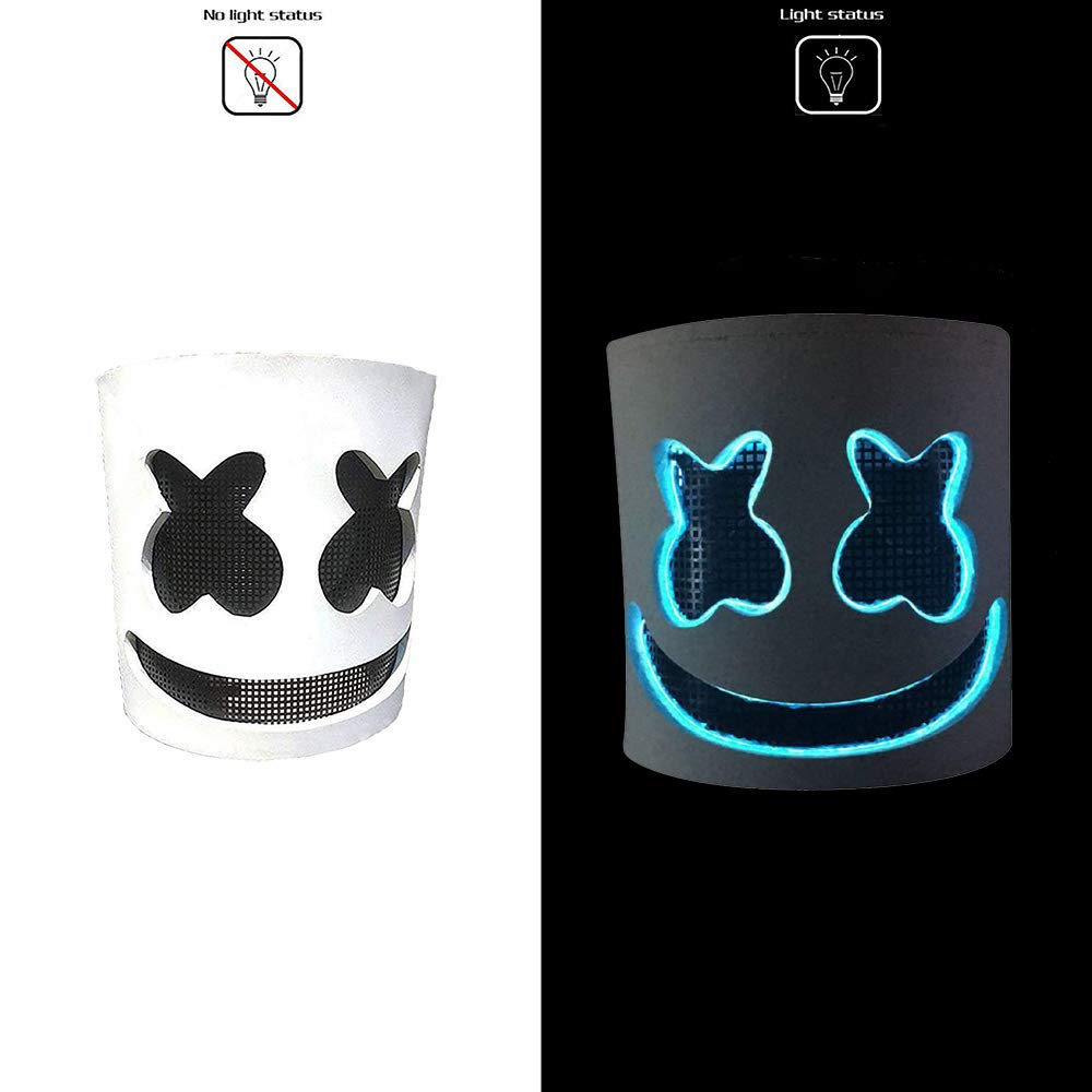 Novelty Costume Party Mask Rubber Latex Full Head Mask Soft dj Marshmello Mask for Kids Adults Led DJ Mask