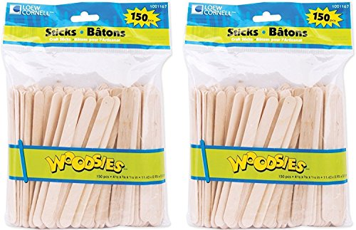 (Loew Cornell 1021167 Woodsies 150-Count Craft Sticks (2-Pack))