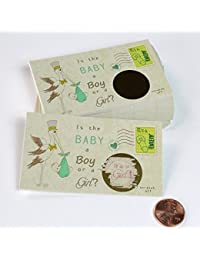 Stork Gender Reveal Scratch off Cards, Reveal The Sex of your Baby, Boy or Girl,Pink or Blue, Baby Shower Scratch-off gender announcement, Retro Stork design 25 Cards (Pink~ Girl) My Scratch Offs BOBEBE Online Baby Store From New York to Miami and Los Angeles