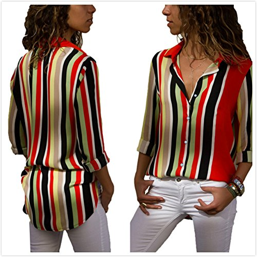 Femme Top Multicolore V Mode EU36 Blouse Col Mousseline Vague M 52 Chemisier Tunique S FIYOTE L XL Manches XXL Longues C58wn