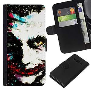 All Phone Most Case / Oferta Especial Cáscara Funda de cuero Monedero Cubierta de proteccion Caso / Wallet Case for Samsung Galaxy A3 // Greepy Clown Monster Villain White Face