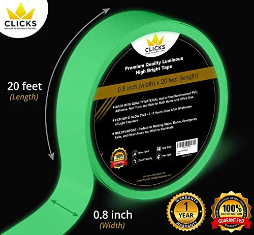 Glow in The Dark Luminous Tape - 20 x 0.8 - Made with Premium Quality, Non-Toxic Materials, 8 Hour Glow. Easy to Use & Waterproof.