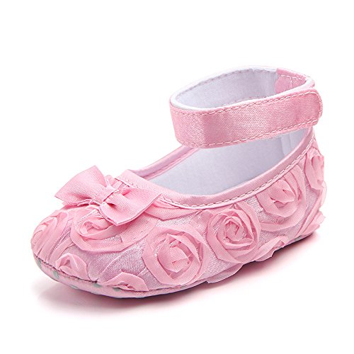 (Baby Girls Toddler Shoes Rose Lace Bow Soft Sole Newborn Princess Shoes (11cm(0-6months), Pink))