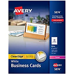 Avery Printable Business Cards, Laser Printers, 1,000 Cards, 2 x 3.5, Clean Edge (5874)