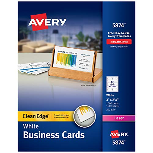 (Avery Printable Business Cards, Laser Printers, 1,000 Cards, 2 x 3.5, Clean Edge)