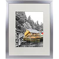 Golden State Art, Satin Silver Color Brushed Aluminum Landscape Or Portrait Photo Picture Frame With Ivory Color Mat & Real Glass (16x20)