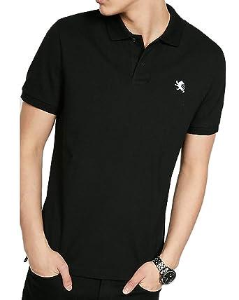 f0ada101 Express Mens Short Sleeve Lion Embroidered Pique Polo Shirt Black (Medium)