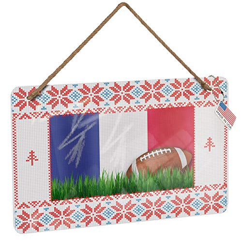 NEONBLOND Metal Sign Football with Flag French Vintage Christmas Decoration -