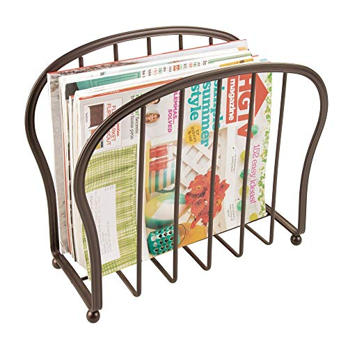mDesign Decorative Metal Wire Magazine Holder, Organizer - Standing Rack for Magazines, Books, Newspapers, Tablets, Laptops in Bathroom, Family Room, Office, Den - Bronze