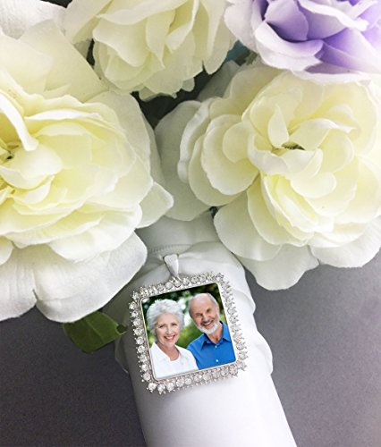 Bridal Wedding Bouquet Photo Charm Silver Square Rhinestone Photo Charm Includes Photo Resizing Software