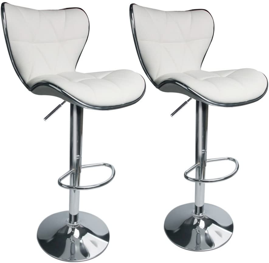 Leopard Shell Back Adjustable Swivel Bar Stools, PU Leather Padded with Back, Set of 2 (White)