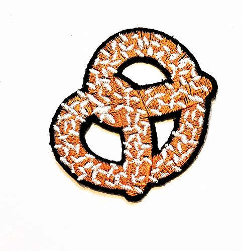 """2.6"""" X 2.2"""" Sweet Pretzel Bread Fast Food Cooking Chef Cartoon kid Patch logo jacket t-shirt Jeans Polo Patch Iron on Embroidered Logo Sign Badge Comics Cartoon patch by Tour les jours shop"""