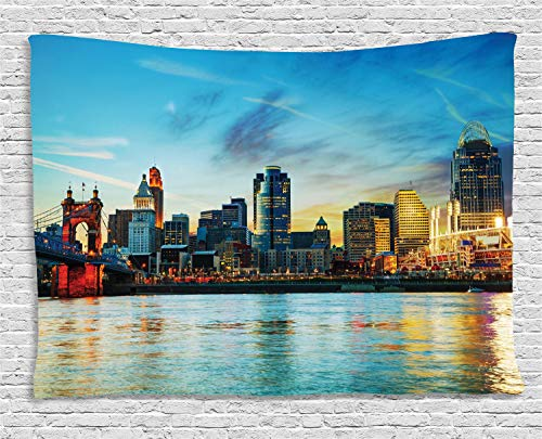 Ambesonne Cincinnati Tapestry, Overview of The City Nighttime
