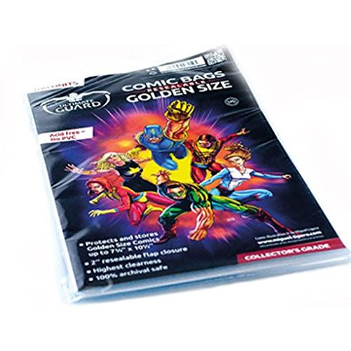 Comic Bags - Golden, Resealable (10 Packs of 100) by Comic Bags & Backing Boards Ultimate Guard