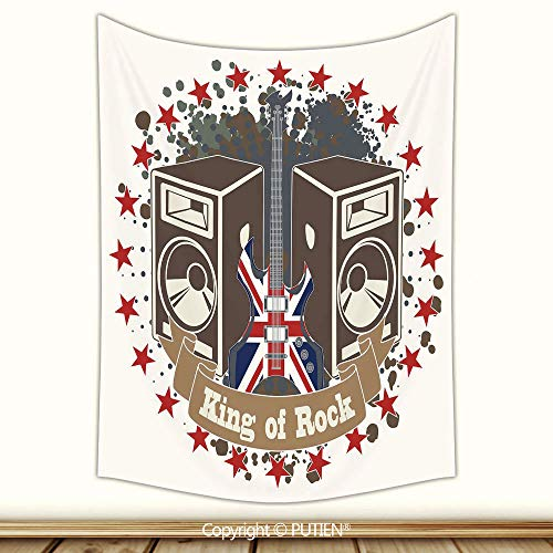 Beautiful Tapestry Wall Hanging [ Popstar Party,King Rock Label with Speakers Stars and Electric Guitar with British Flag Decorative,Multicolor ] Fabric Wall Hanging Decor for Bedroom Living Room ()