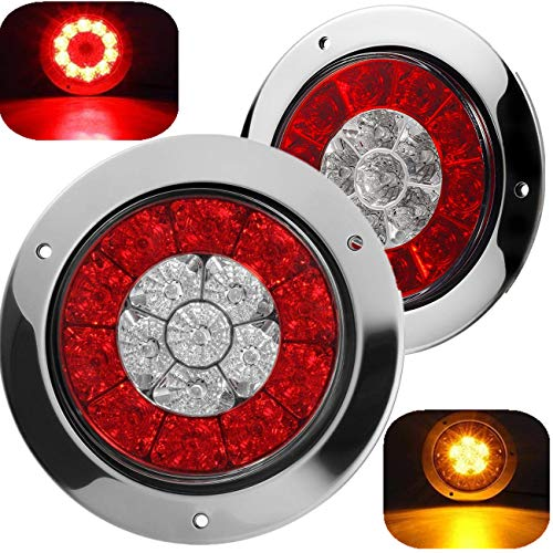 4 Inch Red/Amber Dual Color Round Truck Trailer Led Tail Light Assembly as Stop Brake Running Parking Turn Signal Lights,Stainless Steel Sealed Led Lights w/Miro-reflectors Flange Mount (Pack of 2)