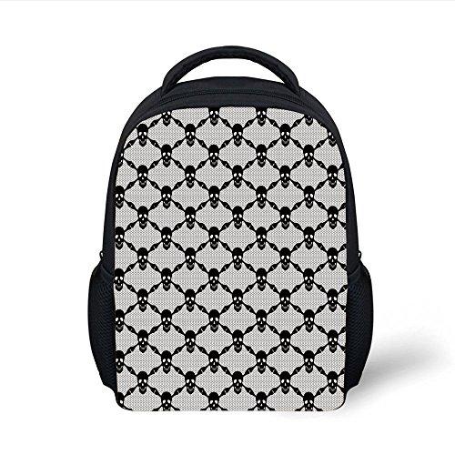 iPrint Kids School Backpack Gothic,Halloween Horror Theme Spooky Black Skulls Checkered Pattern with Skeleton Bones,Black White Plain Bookbag Travel Daypack]()