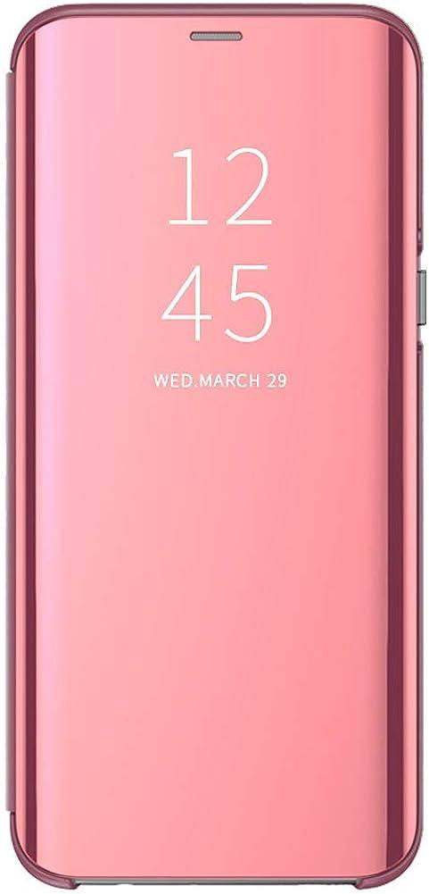 Silicona Funda para Xiaomi Redmi 6/6A Suave + Duro Carcasa Espejo Mirror Flip Caso Case Ultra Delgada Shock Cover Caja del Teléfono Translucent Window View