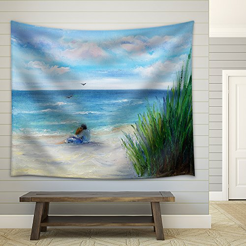 wall26 – Original Oil Painting Showing Couple in Love Sitting on The Beach and Looking at Ocean – Fabric Wall Tapestry Home Decor – 68×80 inches