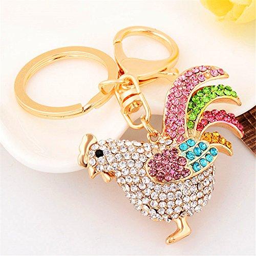 JewelBeauty Rooster Sparkling Czech Rhinestone Keychain Crystal Handbag Charm Key Chain (Multi-colors) (Dark Multi Crystal)