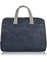 Piquadro Computer Portfolio Briefcase with Three Dividers and iPad Compartment, Blue/Grey, One Size