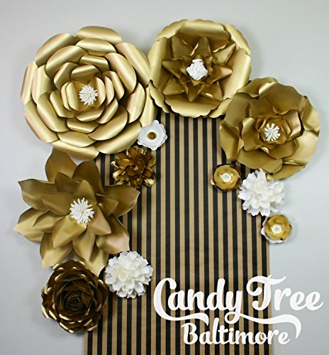 Gold paper flowers backdrop / Golden Paper Flower Backdrop / Giant Paper Flowers Wall / Paper Flower Wall ''RETRO'' by Candy Tree Baltimore