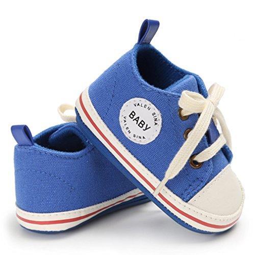 anbiwangluo Reizende Segeltuch-Baby-Turnschuh-Rutschfeste Weiche Nette Trainer-Schuhe 0-18M Blau