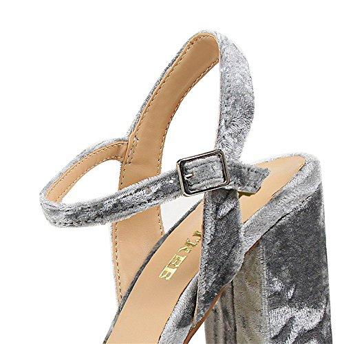 z&dw Elegante talón sexy super alta impermeable tabla de terciopelo con sandalias Gris