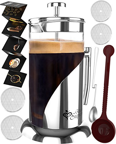 French Press Coffee & Tea Maker Complete Bundle | 34 oz | No Unsafe Plastic Lid Best Coffee Pot with Stainless Steel & Double German Glass -