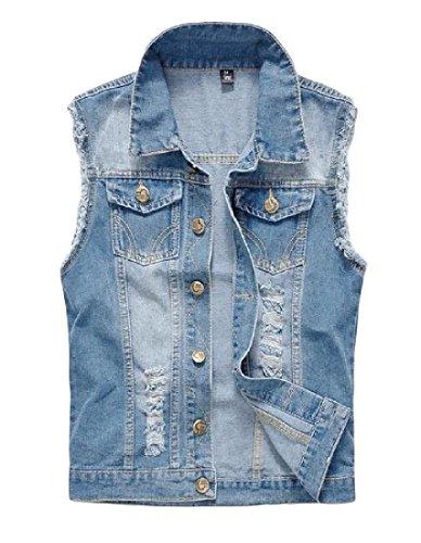 (RDHOPE-Men Leisure Pockets Ripped Turn-Down Collar Plus Size Denim Vest Jacket Light Blue M)
