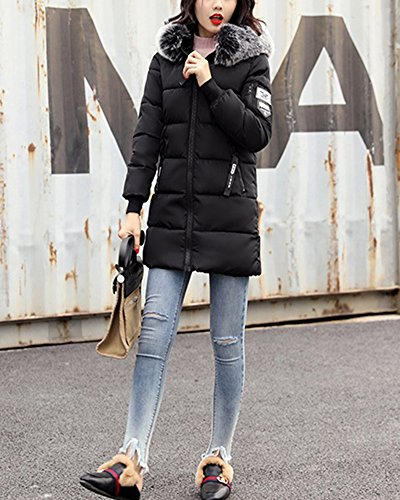 Duvet Élève Slim Section Femme Col Veste En Noir Coton Manteau Longue Gros 0OR6fw