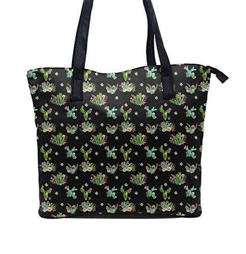 Western Cactus Flowers Black Tote-Handbag for Women Ladies Girls - Hobo Sling Shoulder Bag Daily Purse Big Capacity Tote Satchel Travel Weekender Bag Beach Bag