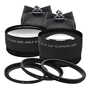 Precision Design 2.5x Telephoto & .45x Wide-Angle Macro Digital Lenses (for 49mm/52mm/55mm/58mm Filter Size)