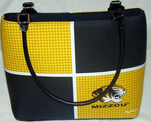 Missouri University Tigers Fashion 4-Block Black & Gold HardbodyTop Handle Purse (MIZZOU 4)