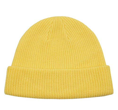 Connectyle Classic Men's Warm Winter Hats Acrylic Knit Cuff Beanie Cap Daily Beanie Hat (Light Yellow)