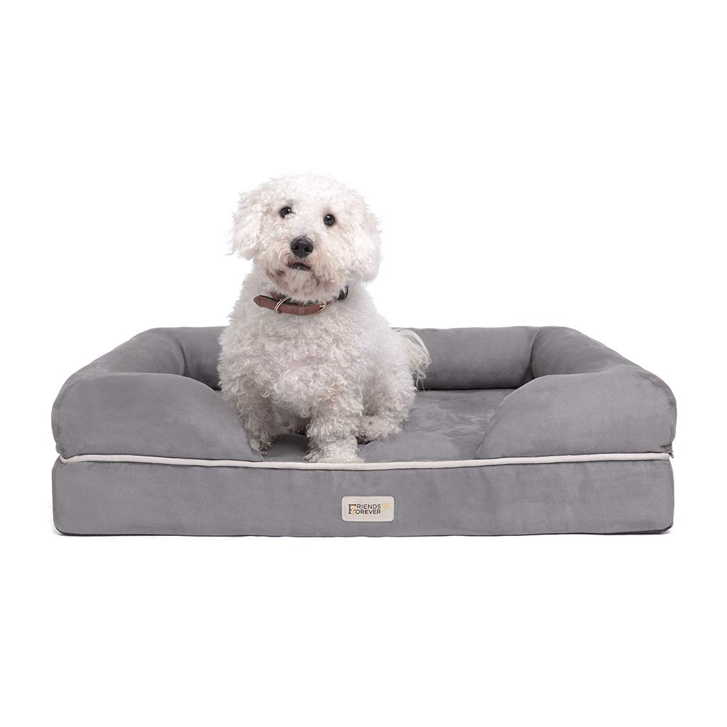 Friends Forever Chester Pet Couch with Solid Memory Foam Grey 28x36+9'' by Friends Forever
