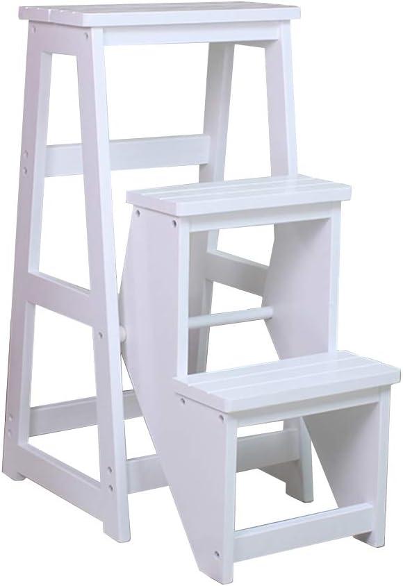 Taburete de escalera de madera maciza 3 pasos silla plegable para adultos | Taburete para el hogar Taburete simple Banco / silla Multifunción Soporte de flores Altura 77 cm - Blanco: Amazon.es: Hogar